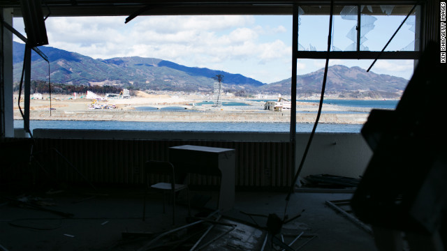 Sun shines through the window of an area on Sunday that was devastated two years ago in Rikuzentakata, Iwate Prefecture.