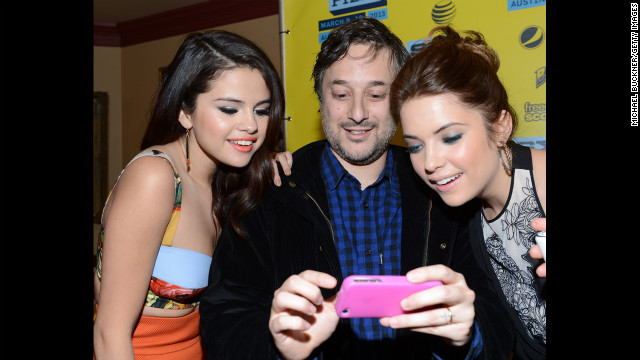 Actress Selena Gomez, left, director Harmony Korine and actress Ashley Benson gather in the green room to discuss their film &quot;Spring Breakers&quot; on Tuesday, March 10.