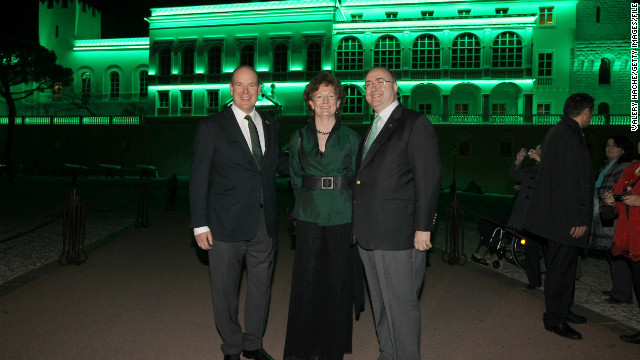 Monaco's Palace goes green on St. Patrick's Day, in part to honor the Irish heritage of the late Princess Grace. Here Monaco's Prince Albert II, left, appears with Paul Kavanagh, Ireland's ambassador to France, and Kavanagh's wife, Rosemary, on St. Patrick's Day in 2012.