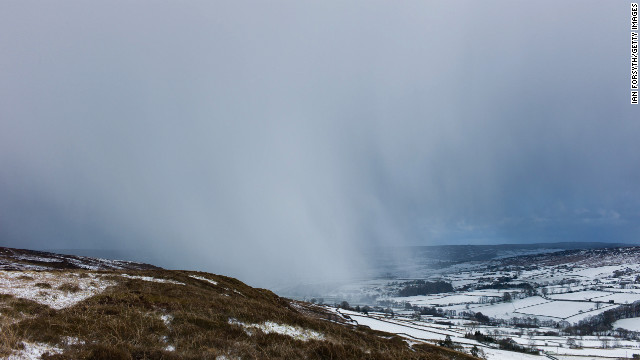 Brief but heavy snowstorms move across the Yorkshire moors on Monday, March 11, in the United Kingdom.