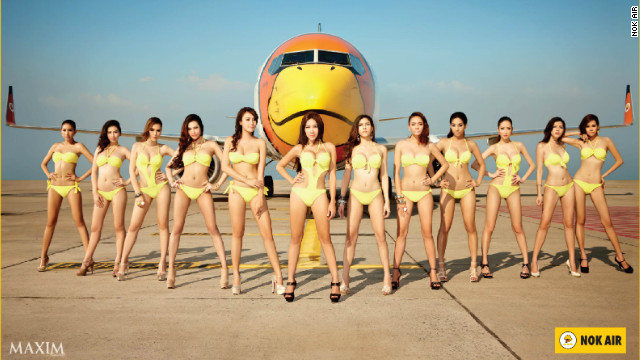 Maxim models strike a pose for Thailand-based low-cost carrier Nok Air. CEO Patee Sarasin says it's &quot;hard to measure&quot; if such advertising boosts sales. 