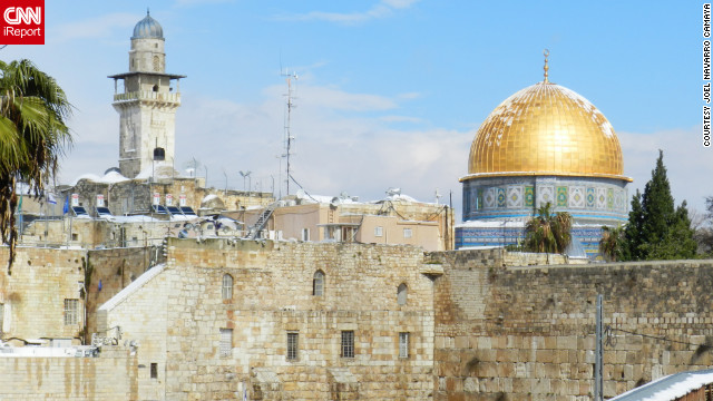 A dusting of snow rests on Jerusalem's Dome of the Rock. See other sites from around the Old City in the snow on CNN iReport.