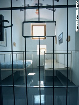 Refurbished prison cells provide modern accommodation at the Hostel Celica.