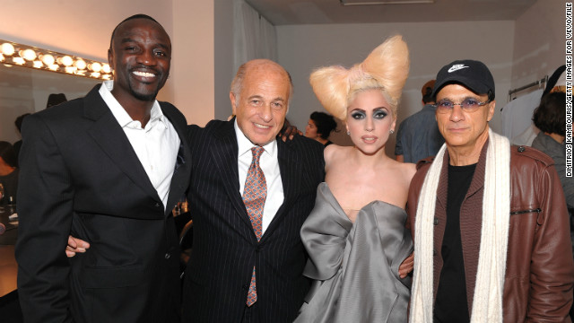 "In 2007 Lady Gaga was signed by Akon and Interscope Records before the release of her 2008 debut album, ""The Fame.""<!-- --> </br>Pictured: Akon, Doug Morris (chairman and CEO of UMG), Lady Gaga and Jimmy Iovine (chairman of Interscope Geffen A&M), in December 2009, New York. <!-- --> </br>"
