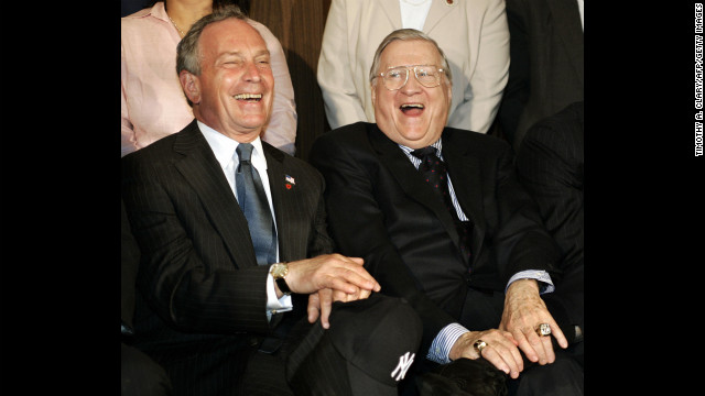 New York Yankees owner George Steinbrenner shares a laugh with Bloomberg during a press conference in June 2005 at Yankee Stadium announcing plans for a new $800 million stadium.