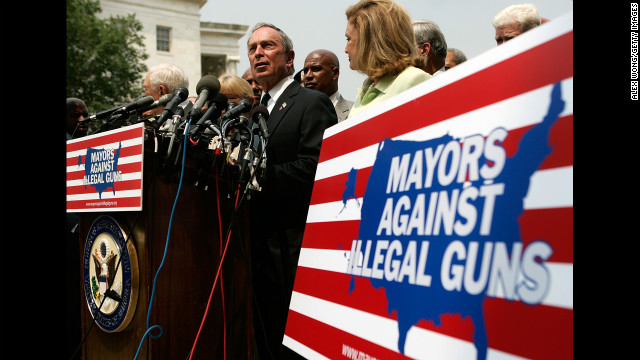 Bloomberg holds a news conference on gun control in July 2007 on Capitol Hill in Washington, where he traveled to lobby against the Tiahrt Amendments, measures that regulate access to gun tracing data.