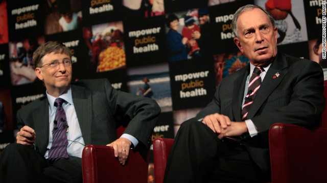 Microsoft co-founder Bill Gates and Bloomberg take questions at a press conference announcing their charitable support for a new global anti-smoking initiative in July 2008. Gates and Bloomberg announced their combined contribution of half a billion dollars to combat global smoking. See more on Bloomberg's controversial health bans