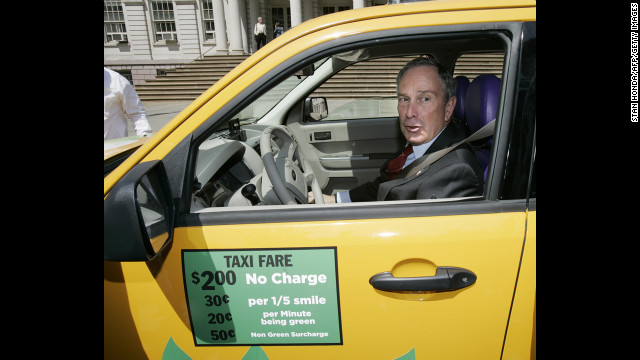 Bloomberg sits in a Ford Escape hybrid taxicab donated by Yahoo after he announced in May 2007 that the city's taxi fleet would be fully hybrid by 2012. The plan fell through after judges ruled in 2008 that the city couldn't penalize taxi drivers who didn't use hybrid cars, according to The <a href='http://cityroom.blogs.nytimes.com/2008/10/31/judge-blocks-hybrid-taxi-requirement/?gwh=87B27602188FCD143F612C0D9B43B4CC' target='_blank'>New York Times</a>.