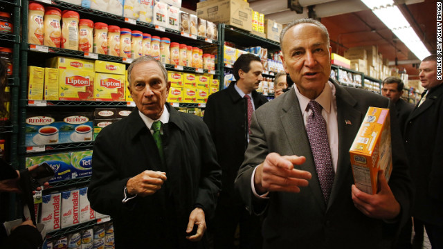 Bloomberg and Schumer shop in the newly reopened Fairway Market on the waterfront in Red Hook in March 2013 in Brooklyn. Fairway closed after severe flooding during Superstorm Sandy.