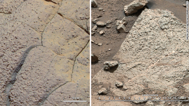 The rock on the left, called Wopmay, was discovered by the rover Opportunity, which arrived in 2004 on a different part of Mars. Iron-bearing sulfates indicate that this rock was once in acidic waters. On the right are rocks from Yellowknife Bay, where rover Curiosity is situated. These newly discovered rocks are suggestive of water with a neutral pH, which is hospitable to life formation.