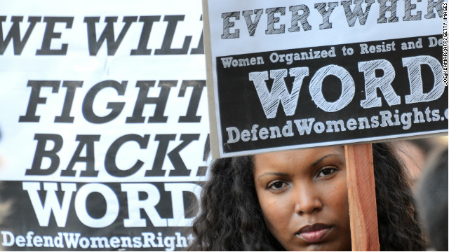 People protest violence against women on International Women's Day in Hollywood, California, on March 9, 2013.