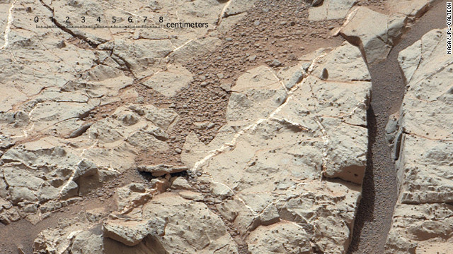 The 2,000-pound Mars rover Curiosity made its landing on Mars on August 6, 2012, and has been sending back fascinating images and data ever since. Mars once had conditions favorable for microbial life, NASA scientists announced Tuesday, March 12, 2013. One piece of evidence for that conclusion comes from this area of the Martian surface, nicknamed &quot;Sheepbed.&quot; It shows veins of sediments that scientist believe were deposited under water and was an environment once hospitable to life. See more images sent by the rover: