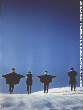 "Freeman designed the cover of ""Help!"", the Beatles' fifth album, by getting the band to stand with their arms in different positions as though spelling out a word in flag semaphore. This is an outtake taken during the album cover shoot in 1965."