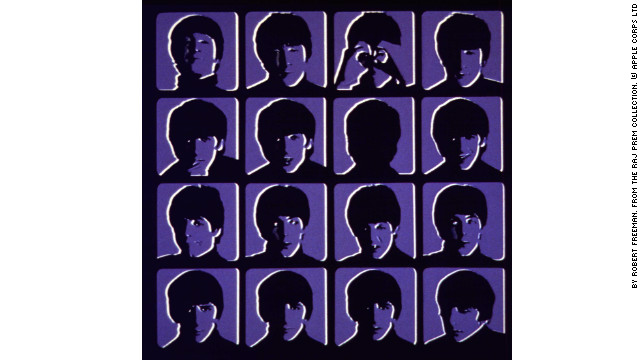 "The original UK cover of the Beatle's third album, ""A Hard Day's Night,"" in blue. Four rows of four head shots of each Beatle with different facial expressions are set up as frames from a movie."