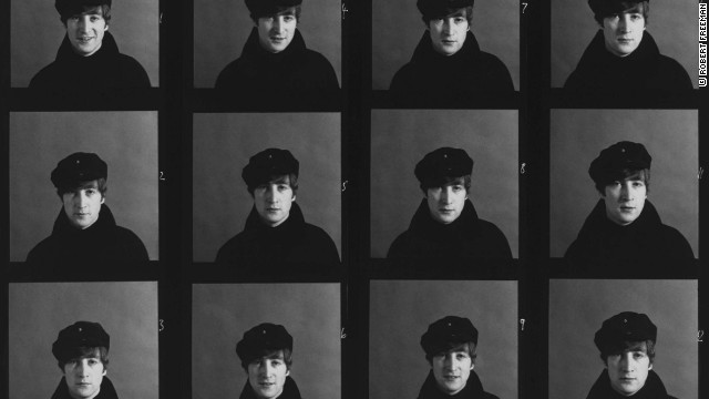 Lennon wears his trademark black Greek fisherman's cap which became known as the John Lennon Hat.