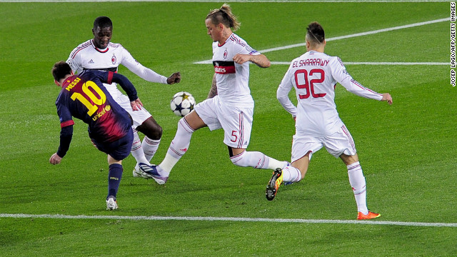 Leo Messi gave Barcelona the perfect start by curling home an exquisite effort with just five minutes on the clock following a wonderfully intricate team move. Trailing 2-0 from the first leg, Barca laid siege to the Milan goal with Andres Iniesta's shot turned onto the crossbar.