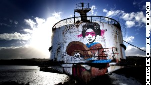 Psychedelic graffiti transforms ship
