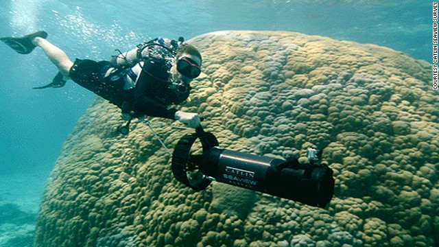 In Going Green: Oceans, Philippe Cousteau (pictured) joins the Catlin Seaview Survey team as they map the Great Barrier Reef. <a href='http://cnn.com/2013/03/22/world/environment-cousteau-oceans-twi