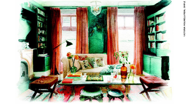 This room, designed by Ellen Hamilton, uses peacock blue and coral as major color players.