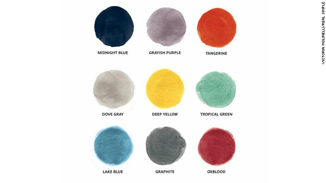 Use any row or column from this color matrix to redecorate a room: Two colors out of the three will be the main room colors and the remaining color is the accent color.