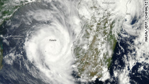 On January 19, 2009, two tropical cyclones bore down on Mozambique.