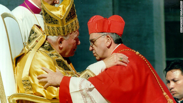 Pope John Paul II receives Cardinal Bergoglio, archbishop of Buenos Aires, Argentina, at the Vatican on February 21, 2001.