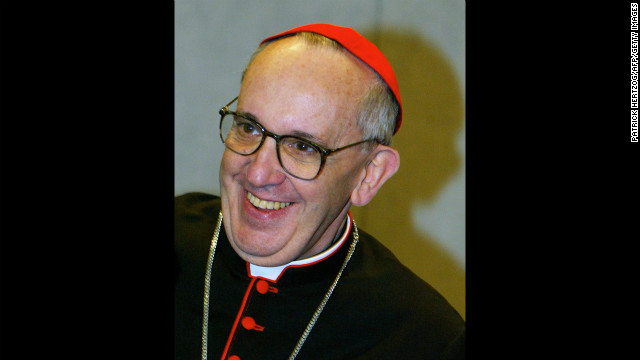Bergoglio smiles during a news conference at the Vatican in October 2003. during celebrations marking the 25th anniversary of Pope John Paul II's election.