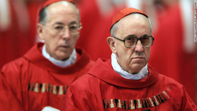 Bergoglio, right, and Peru's Cardinal Juan Luis Cipriani Thorne attend the special &quot;pro eligendo summo pontifice&quot; (to elect supreme pontiff) Mass in Vatican City in April 2005.
