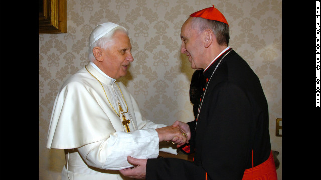 Pope Benedict XVI meets Bergoglio at the Vatican in January 2007.