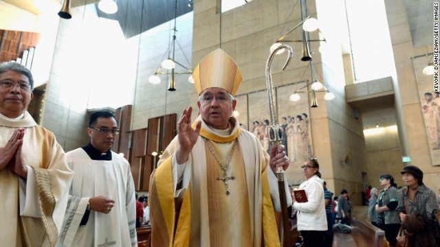 Los Angeles Archbishop Jose Gomez celebrates the midday Mass at the Cathedral of Our Lady of the Angels in recognition of the new pope.