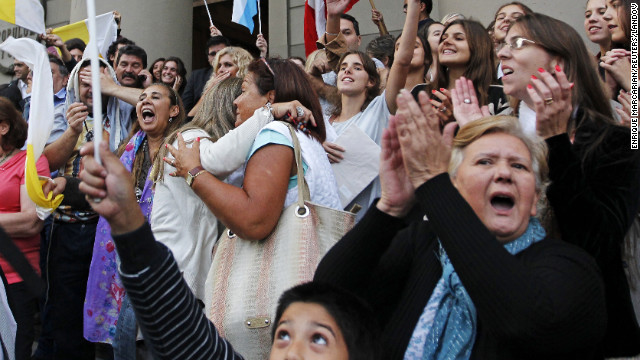People cheer the election of Cardinal Jorge Bergoglio of Argentina as Pope Francis at the Metropolitan Cathedral in Buenos Aires on March 13.