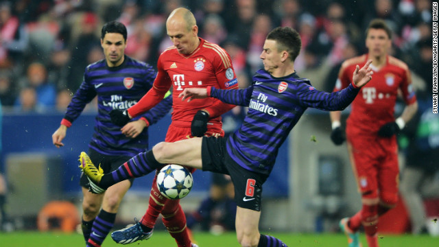 Arjen Robben was a constant danger to the Arsenal defense and kept the visiting players busy as Bayern looked for an equalizer.