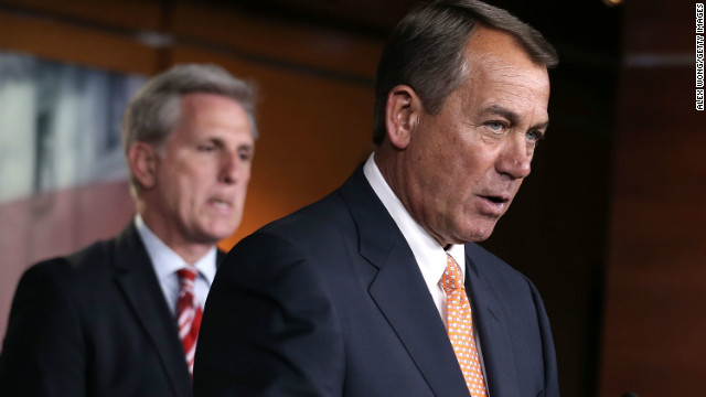U.S. House Rep. John Boehner (R-OH) speaks as House Majority Whip Rep. Kevin McCarthy (R-CA) looks on during a news conference after a meeting between President Barack Obama and the House Republican Conference.