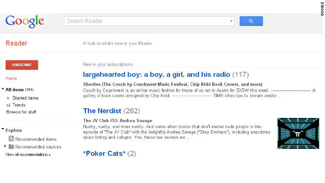 Google Reader was launched in 2005 but had been losing readers, the company said in a blog post.