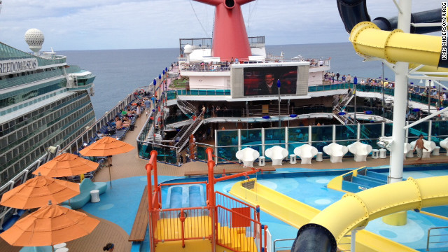 A view of the Carnival Dream deck as it sits at dock in St. Maarten on Thursday.