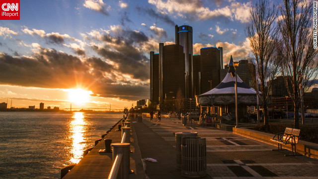 The sun sets behind Detroit's skyline in this lovely shot from the riverfront. See more images on CNN iReport.