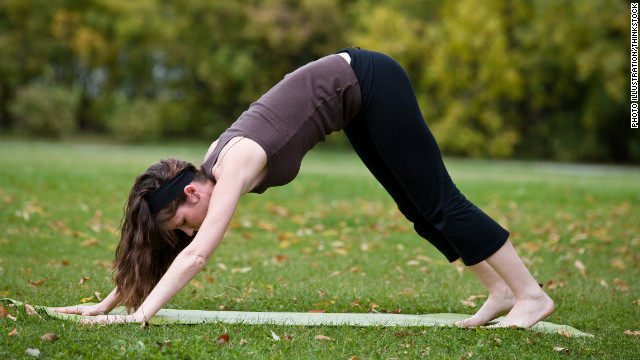The downward dog and other yoga exercises can have a positive effect on psychological problems.