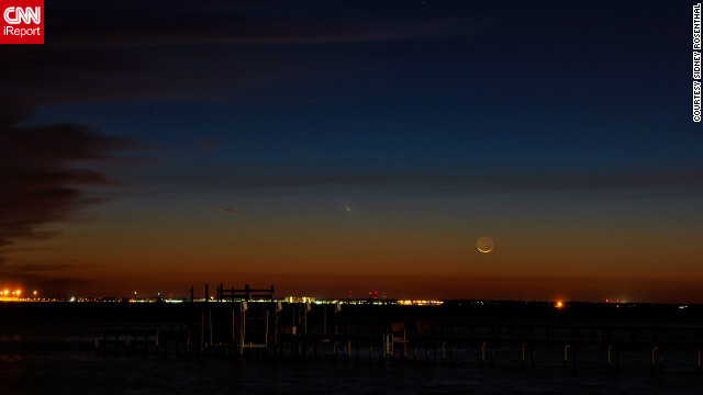Sidney Rosenthal stood at the edge of the Pensacola Bay in Gulf Breeze, Florida to capture this shot of the Pan-STARRS comet. He says he enjoys astrophotography and always marvels at celestial objects.
