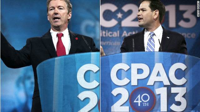 Two contenders for 2016: Sens. Rand Paul, left, and Marco Rubio speak at the CPAC convention last month.