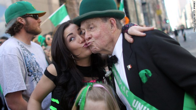 """Kiss me, I'm Irish"" is a phrase many St. Patrick's Day revelers use on the holiday. But Irish people have <a href='http://www.digitalhistory.uh.edu/historyonline/irish_am_solidarity.cfm' target='_blank'>not always had such a loving reception in this country</a>. When Catholic Irish fled the famine in their country in the mid-1800s and came to the U.S., they were seen by some as poor, uneducated drains on the economy who had the wrong religion. But Catholic Irish immigrants soon became a powerful social group in urban centers, and <a href='http://www.thejournal.ie/readme/is-the-irish-american-vote-still-important-662013-Nov2012/' target='_blank'>politicians often sought the support</a> of the ""Green machine."""