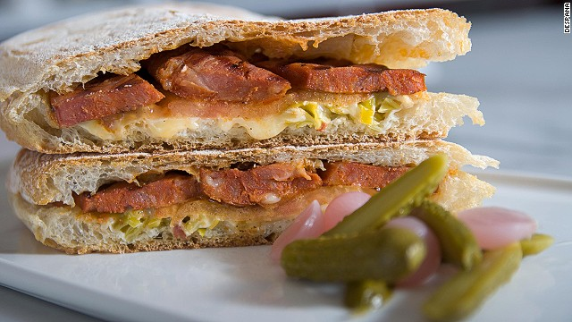 A popular snack at tapas bars and cafs in Spain, the bocadillo is a simple pleasure. Fillings might be a few thin slices of air-cured ham on a short loaf of Spanish bread rubbed with sliced tomato for moistness. Pictured: bocadillo from Despaa in New York.