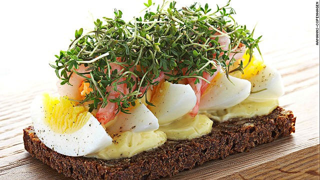 A traditional open-faced sandwich from Denmark, smrrebrd is made with a butter base on dark rye bread. Toppings might include smoked salmon or roast beef with arugula and horseradish crme fraiche. Pictured: eggs with freshly peeled shrimp smrrebrd from Aamanns-Copenhagen in New York.
