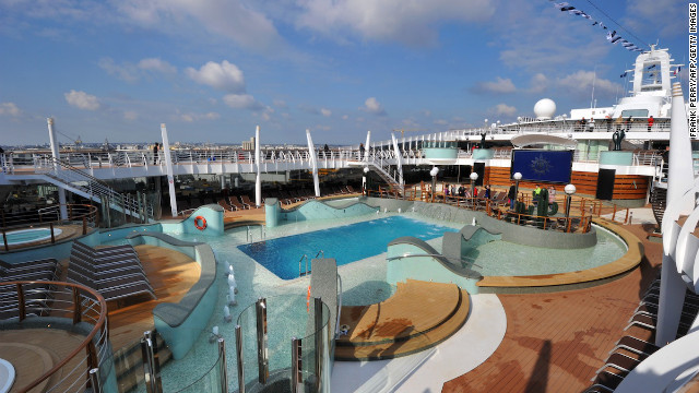Among the ship's features: multiple pools, a waterslide, kids' aqua park, a spa, casino, nightclub, several restaurants and a theater.