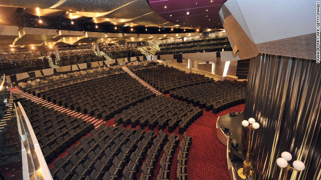 When the view of the ocean or coast gets boring, guests can take in performances at its massive Broadway-sized theater. There is also a bowling alley. Just like being at home, really.