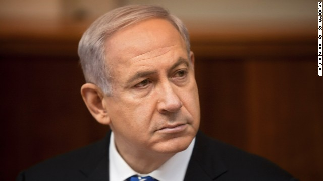 Israeli Prime Minister Benjamin Netanyahu attends the weekly cabinet meeting in his Jerusalem office, on March 10, 2013.