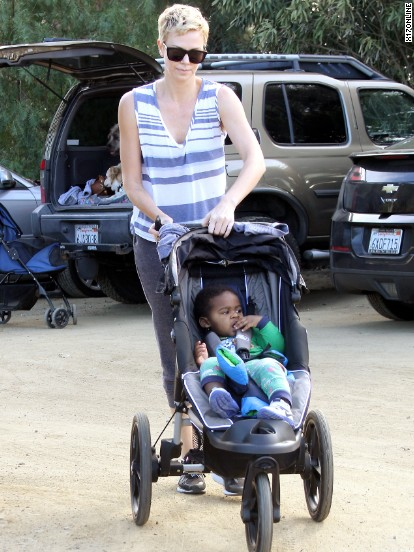 Charlize Theron goes hiking with her son.