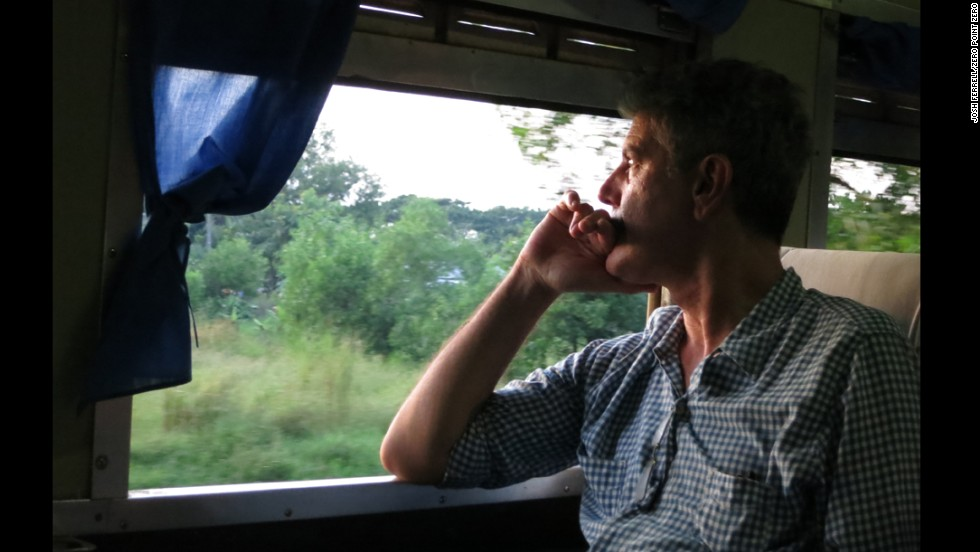 Anthony Bourdain rides on the train to Bagan, Myanmar.