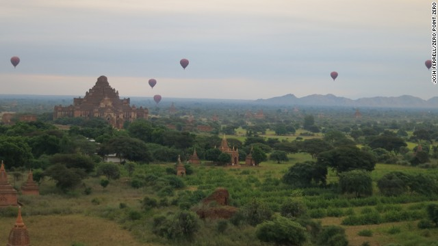 Hot air balloons float over the temples scattered throughout Bagan.