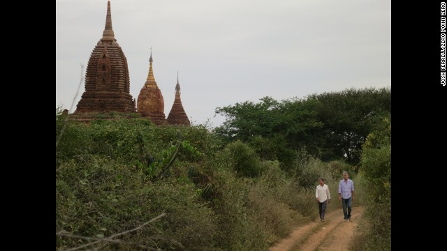 Bourdain and Les Halles owner Philip Lajaunie walk around Old Bagan.