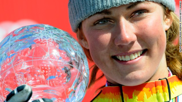 Young U.S. skier Mikaela Shiffrin won the Crystal Globe for the overall World Cup slalom title.